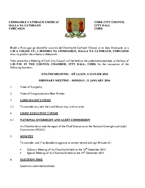 2016-01-11 - Agenda - Council Meeting front page preview