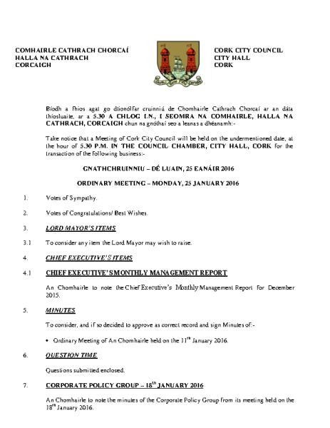 2016-01-25 - Agenda - Council Meeting front page preview