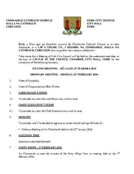 2016-02-08 - Agenda - Council Meeting front page preview