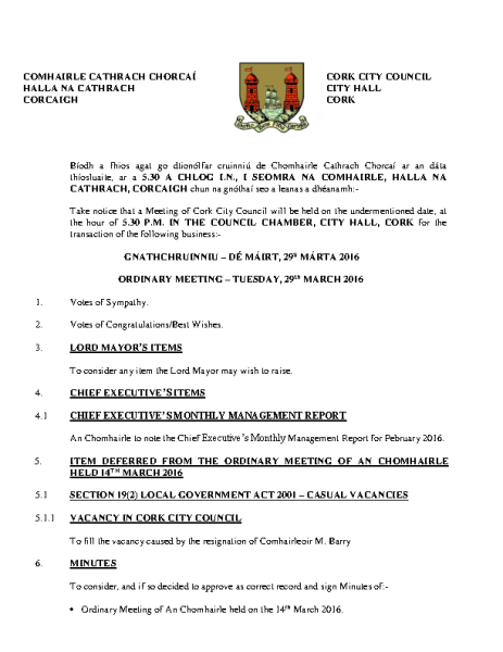 2016-03-29 - Agenda - Council Meeting front page preview