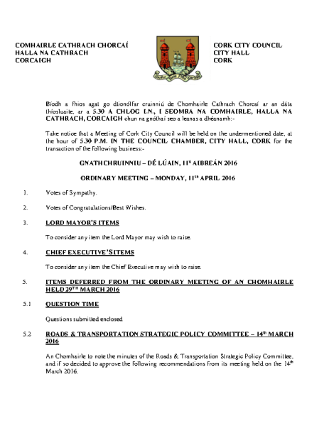 2016-04-11 - Agenda - Council Meeting front page preview