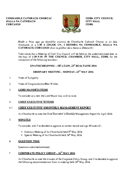 2016-05-23 - Agenda - Council Meeting front page preview