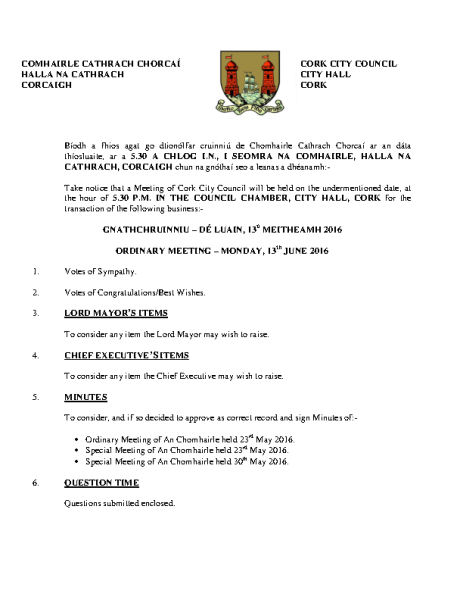 2016-06-13 - Agenda - Council Meeting front page preview