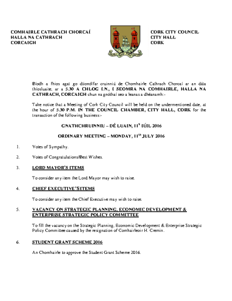 2016-07-11 - Agenda - Council Meeting front page preview