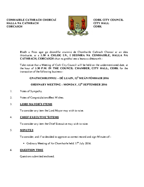 2016-09-12 - Agenda - Council Meeting front page preview