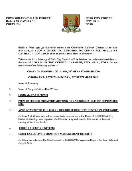 2016-09-26 - Agenda - Council Meeting front page preview