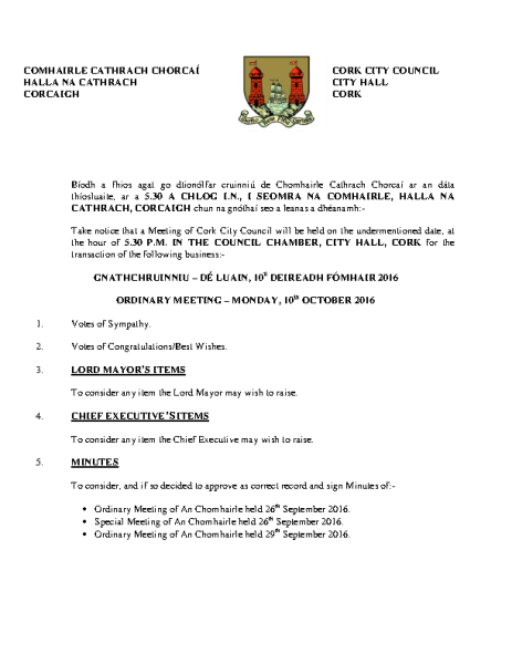 2016-10-10 - Agenda - Council Meeting front page preview