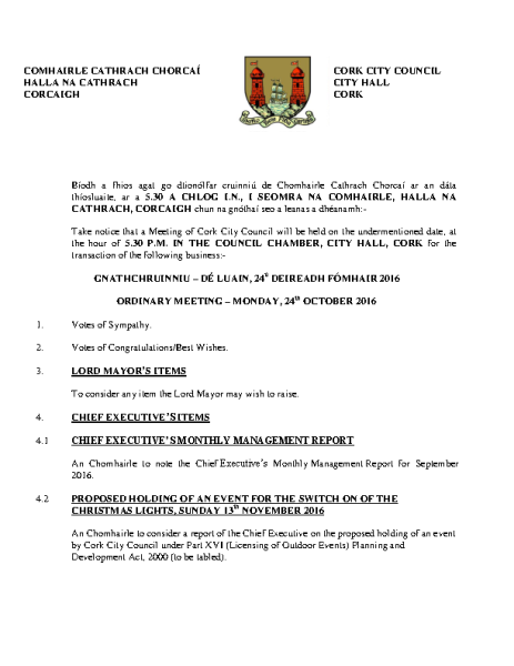 2016-10-24 - Agenda - Council Meeting front page preview