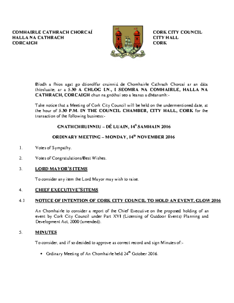 2016-11-14 - Agenda - Council Meeting front page preview