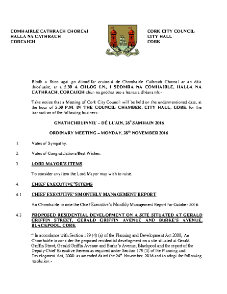2016-11-28 - Agenda - Council Meeting front page preview