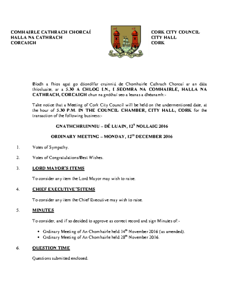 2016-12-12 - Agenda - Council Meeting front page preview