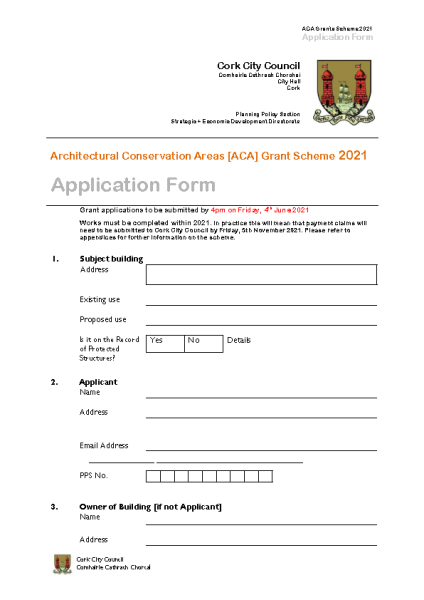 ACA Grant Scheme 2021 Application Form front page preview
