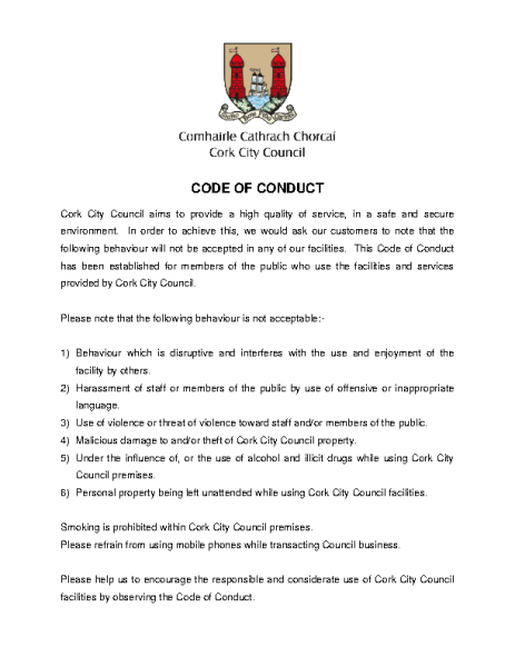 Cork City Council Code of Conduct front page preview