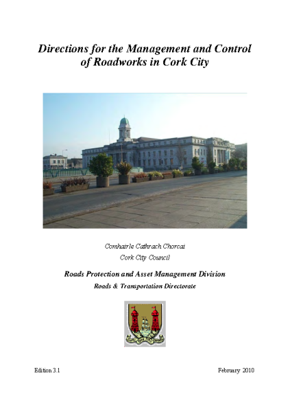 Directions for the Management and Control of Roadworks in Cork City front page preview