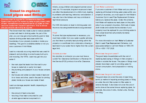 Leaflet on Grant for Replacement of Lead Supply Pipes front page preview