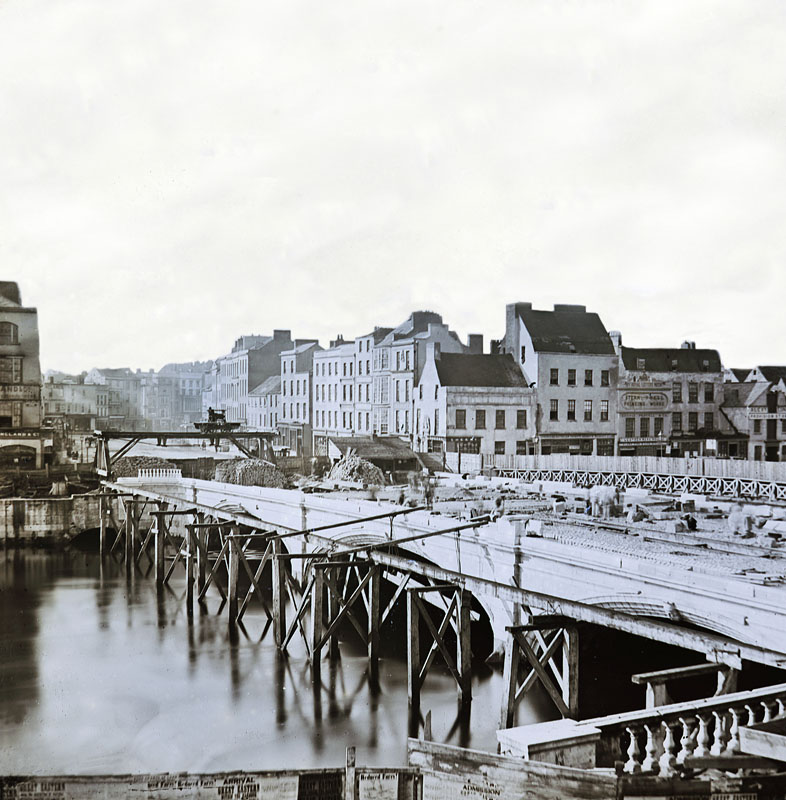 View of St Patricks Bridge under construction in 1861