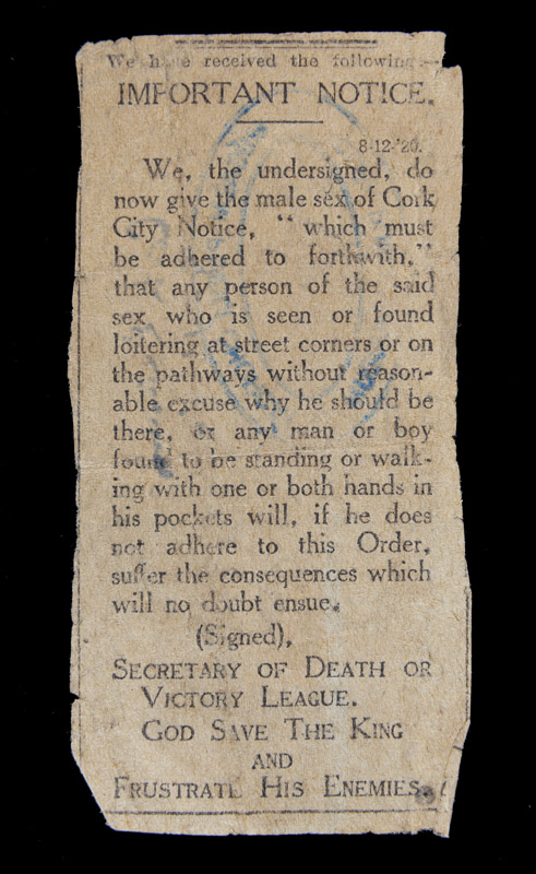 Newspaper-Notice-by-Black-and-Tans-warning-of-Loitering-at-Corners