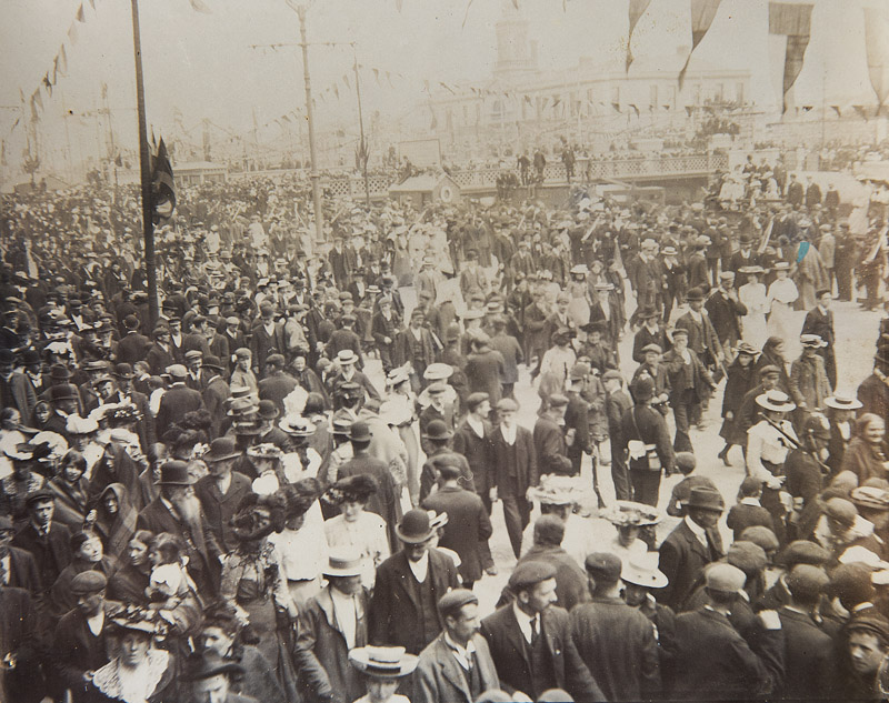 The visit of King Edward VII on August 1st 1903 was a moment of real excitement in the city. These photographs show the scenes on the South Mall (left) and on the quays outside the old City Hall that can be seen in the background.