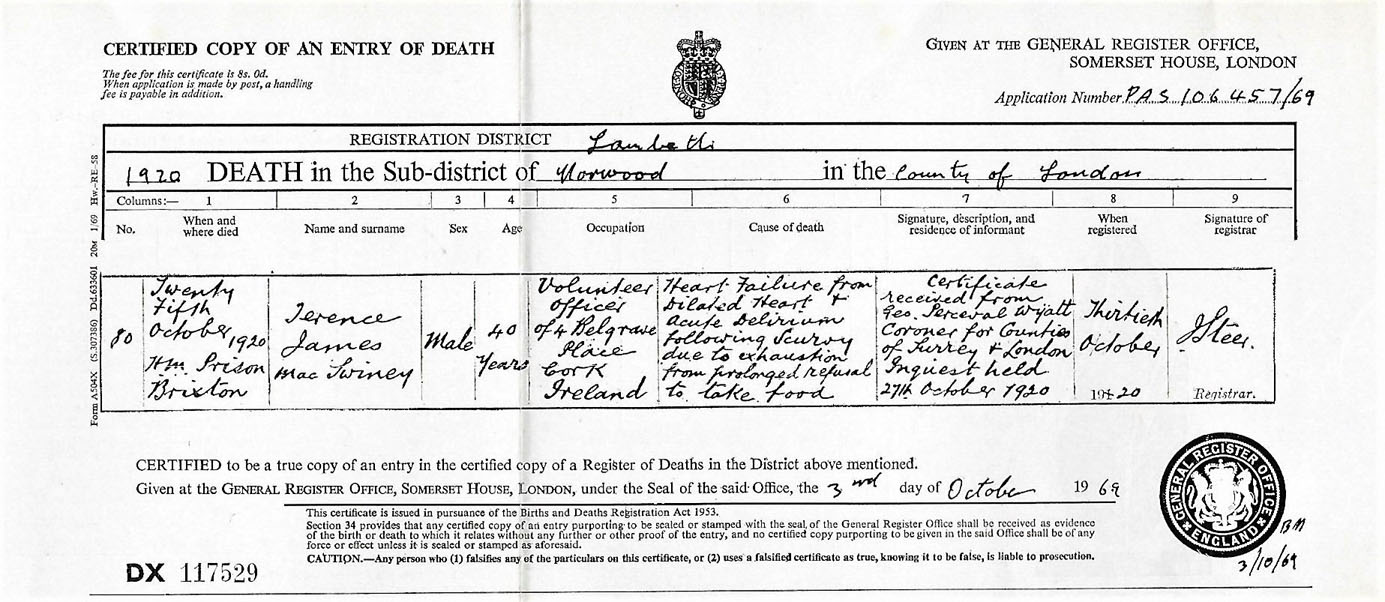 Terence-MacSwiney-Death-Certificate