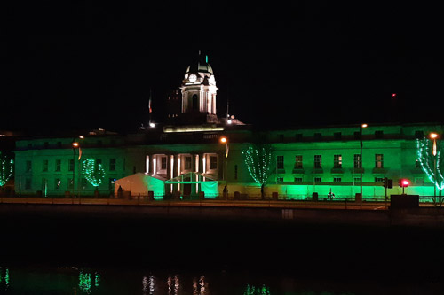 City Hall Cork by night lit in Green