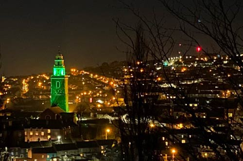Shandon Cork by night lit in Green