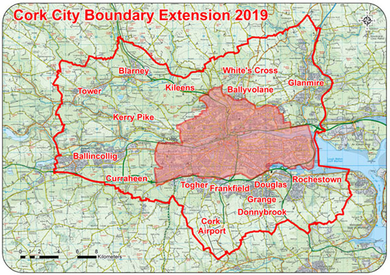 Cork City Boundary Extension Map 2019